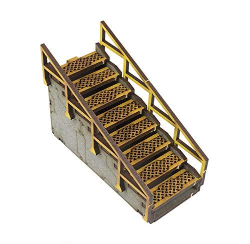 War World Gaming Industry of War Vorbemalte Treppenaufgang - 28mm Tabletop Spiele Gelände Modellbau Modell Diorama (Tabletop-brücke)
