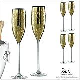 Eisch Lot de 6coupes de champagne en coffret cadeau Doré 180ml