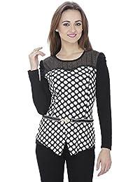 SVT ADA COLLECTIONS Poly Crepe Black N White Designer Partywear Women TOP (052325_Black_Medium)