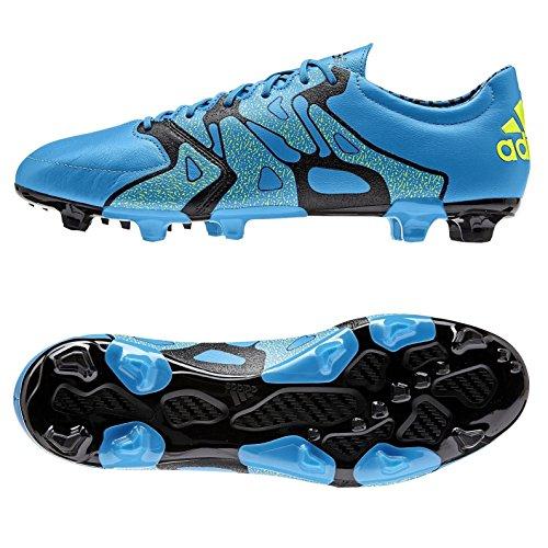 adidas X 15.2 FG/AG Homme Cuir Chaussures de football, Bleu bleu