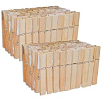 Pack of 100wooden clothes pegs (2x pack of 50)