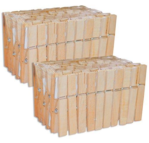 100 Stück Holz Wäscheklammern (2x 50 Stk) (Holz-stücke)