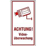 Achtung! Videoüberwachung Hinweisschild, selbstkl. Folie , Größe 8x15cm