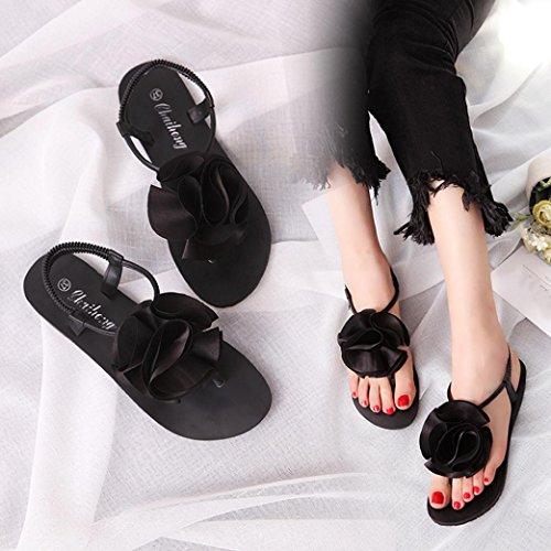 Bescita Flache Schuhe Blume Böhmen Freizeit Lady Peep-Toe Sandalen Outdoor Damenschuhe Schwarz