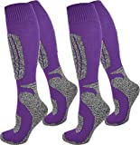 normani 2 Paar Thermo Ski-Socke, atmungsaktiv und schützend Farbe N Lila Größe 35/38