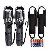 KISCHERS LED Taschenlampe mit Holster Set Inklusive 6 aaa Batterien Extrem Hell 1000 Lumen Taktische Taschenlampen Zoom Wasserdicht für Outdoor Jagd Camping Wandern(2 Stück)