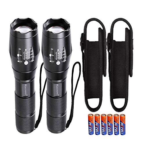 KISCHERS LED Taschenlampe mit Holster Set Inklusive 6 aaa Akku Extrem Hell 1000 Lumen Taktische Taschenlampen Zoom Wasserdicht für Outdoor Jagd Camping Wandern(2 Stück)