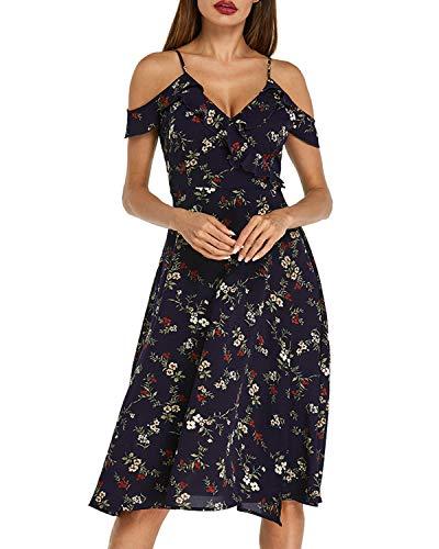 Ärmellos Rüschen V-ausschnitt Kleid (Auxo Damen Blumen Knielang Kleid Ärmellos V-Ausschnitt Lose Rüschen Dress Hohe Taille Kleider Marine XX-Large)