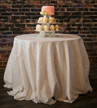 shinybeauty Pailletten tablecloth-132-inch round-ivory-sparkle Bettwäsche Set Kuchen Overlay, 120inch - 120 Runde Tischdecke Ivory
