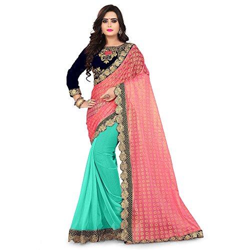 Siddeshwary Fab Women's Pink Lycra Saree With Blouse Piece