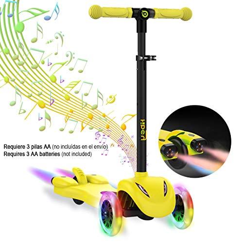 Hiboy S51 Scooter Kinder mit LED Räder, Musik, Dampf für +3 Jahren,Ideal für Outdoor-Spiel für Kinder, Gelb