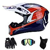NJMSC Motocross Moto Moto Casques et gants et lunettes de natation DOT certification...