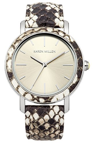 Karen Millen Women's Quartz Watch with Silver Dial Analogue Display and Beige Leather Strap KM137CSP