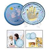 OFKPO Baby Fotorahmen für Handabdruck und Fußabdruck,Geschenk für Neugeborene(Blau)