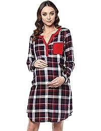 Mine4nine Women's Blue checkered maternity dress