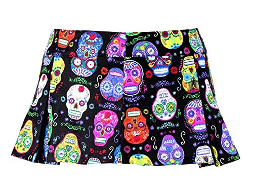 Folter Damen Minirock Sugar Skull Plissiert - Mehrfarbig - X-Groß (Zombie Schulmädchen Halloween-outfit)
