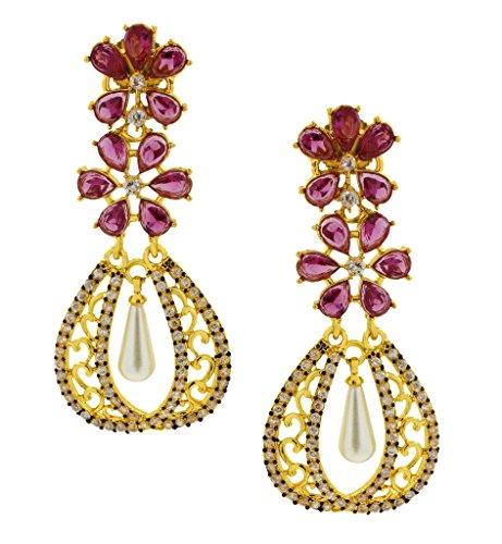 The Jewelbox Kundan Flower Filigree Antique Gold Plated Dangler Earring For Women