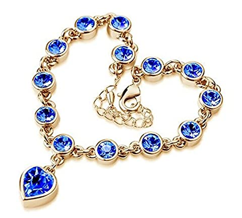 Rizilia Femmes en or 18 carats plaqu¡§? Swarovski Elements coeurs cristal bleu saphir Bracelet