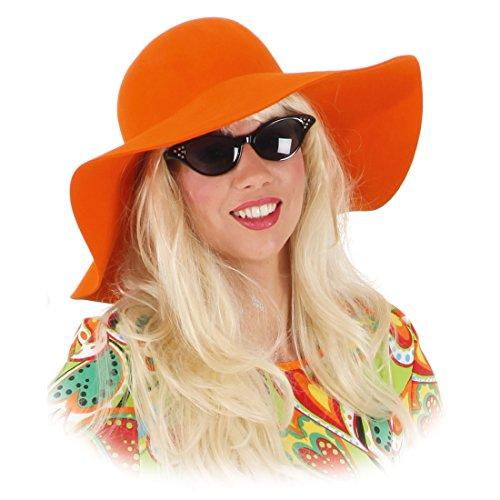 Hippie Hut Maxi Hippiehut orange Damen Sommerhut 70er Jahre Schlapphut Karnevalskostüme Accessoires 60er Jahre Mottoparty Mütze Flower Power Partyhut (60er-jahre-hut)