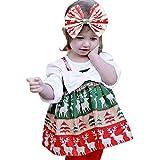 Babykleider,Sannysis Baby Mädchen Festlich Kleid Kleinkind Ärmelloser Weihnachts Bow Rock Karikatur Druck Kleider Weihnachten Kleidung