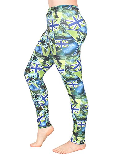 Leggins Damen Leggings leggings mit Muster bunt schwarz weiß elastisch 455 lang 6