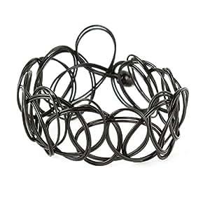 Yesurprise Bijoux Bracelet élastique En plastique Vintage Cercles Noir Largeur 1.5cm