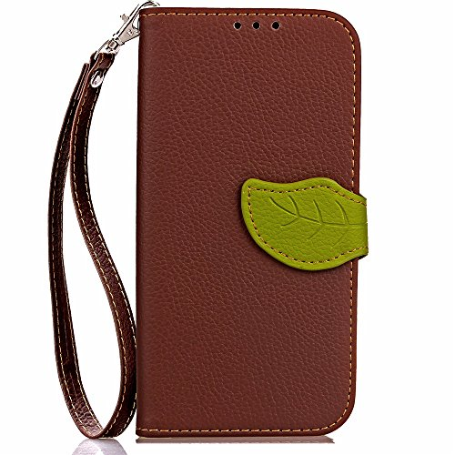 EKINHUI Case Cover Mix und Match Color Leaf Magnetic Buckle PU Ledertasche Brieftasche Stand Pouch Cover mit Lanyard für Motorola Moto Z2 Play ( Color : Red ) Brown
