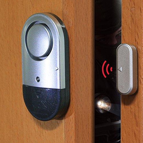 sycotek alarma Personal alarma de puerta de viaje Hotel Seguridad Alarma de seguridad para el hogar, Sensor de vibración y volumen ajustable, Stop Thief y antirrobo para puerta Intruder a mantener su seguridad personal en viaje o en casa, portátil pequeño tamaño, negro y plata
