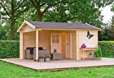 Outdoor Gartenhaus / 2-Raum-Blockbohlenhaus Walter 300 Sockelmaß: 427 x 300 cm Dachtsand: 469 x 340 cm Wandstärke: 28 mm Rauminhalt: 18,26 + 9,71 cbm Ausführung: naturbelassen Material: Massivholz