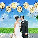 Artoper 25 Stück Gold Konfetti Ballons, Latex Luftballons Ø 30cm mit Golden Folie Konfetti für Geburtstagsfeier Hochzeit Party und Festival Dekoration(25 Stück - Golden) - 5