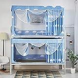 RZJF Moskitonetz - Bettdecke Staubdichter Oberschirm Einteiliger Vorhang Reißverschluss Moskitonetz 0,9 M Bett Blau Breit Länge 190 Hoch 110