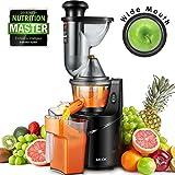 Aicok Entsafter Gemüse und Obst, Slow Juicer mit 75MM Große Einfüllöffnung, Ausgestattet mit Einem Geräuscharmen Motor und Ein-Knopf-Reinigung Funktion