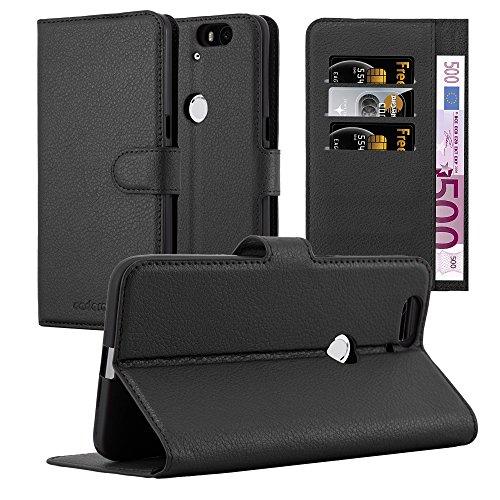 Cadorabo Hülle für Huawei Nexus 6P - Hülle in Phantom SCHWARZ – Handyhülle mit Kartenfach und Standfunktion - Case Cover Schutzhülle Etui Tasche Book Klapp Style