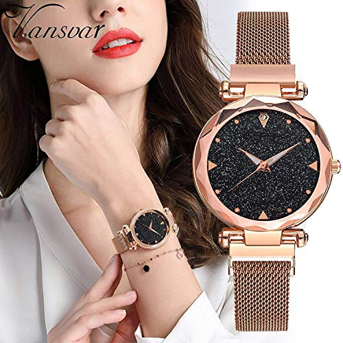 TIMESOON Black-Purple-Copper Casual Designer Magnet Analogue Black Dial Women's Watch Combo -Pair of 3