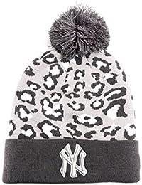 New Era New York Yankees Team Leopard 2 Beanie Hat in Grey