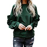 YANG YI Clearance Offer Women's Casual Stylish Solid Round Neck Long Sleeves Patchwork Tops T-Shirts & Shirts Pullover