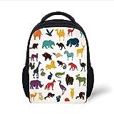 Kids School Backpack Zoo,Big Set of African and European Animals Silhouettes in Cartoon Style Safari Wildlife Decorative,Multicolor Plain Bookbag Travel Daypack