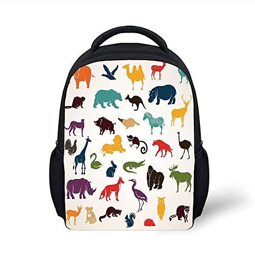 Kids School Backpack Zoo,Big Set of African and European Animals Silhouettes in Cartoon Style Safari Wildlife Decorative,Multicolor Plain Bookbag Travel Daypack - Safari Trolley
