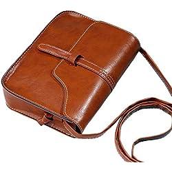 ZARU★Bolso del monedero del vintage bolso del hombro del cuero del faux Bolso cuerpo cruzado(Es cuero artificial)★ (Marrón)