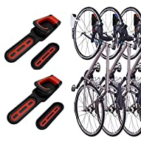 2 Pack Foldable Vertical Bike Rack Wall Mounted Bicycle Cycle Storage Rack Single Bike Hook Wall Bike Hanger Holder w/Tire Tray for Garage Shed Retail Applications Road Bike (Red&Black)