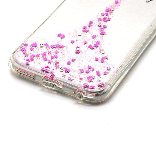 Cover Per iPhone 8 Plus / 7 Plus 5.5 Bling Glitter, Custodia Design Emoticon multicolore Trasparente Plastica Con Sabbia Mobili Blu Brillanti ,Vandot Shell 3D Quicksand Case Con Stella Fluente Liquid angel 02