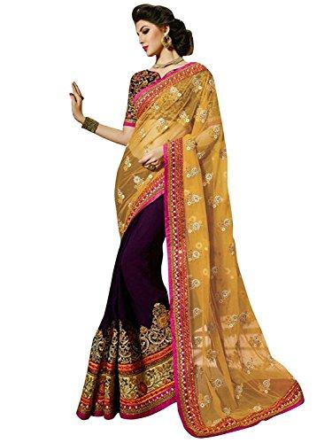 Bollywood Craze Purple Color Georgette & Banglori silk Fabric Embroidery Work Saree...