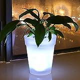 Blumentopf mit LED-Licht, solarbetrieben, weiße LED Blumentopf für Garten Hof, Balkon Dekoration