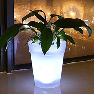 Macetero con luz LED, energía Solar, LED Blanco, Maceta para jardín, Patio, balcón, decoración