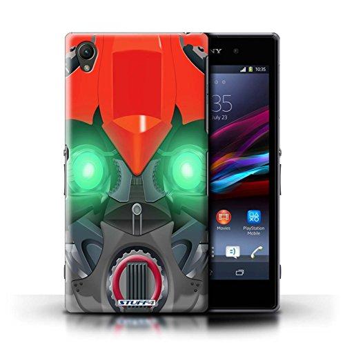 Kobalt® Imprimé Etui / Coque pour Sony Xperia Z1 / Bumble-Bot Jaune conception / Série Robots Bumble-Bot Rouge