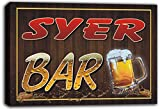 scw3-084259 SYER Name Home Bar Pub Beer Mugs Cheers Stretched Canvas Print Sign