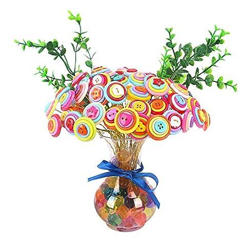 Eizur Children DIY Button Artificial Flower Bouquets Home Decoration Crafts