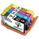 GREENSKY 4 paquets Remplacement de cartouche d'encre compatible HP 903 903XL Convient pour HP Officejet 6950 6960 6970 Printer - (1 Noir, 1 Cyan, 1 Jaune, 1 Magenta)