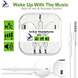 Mozix Headphones With Mic For IPhone, Apple, IPhone 4/4s/5/5s/6/6s IPad With 3.5mm Jack With Mic And Volume Button Earphone With Mic