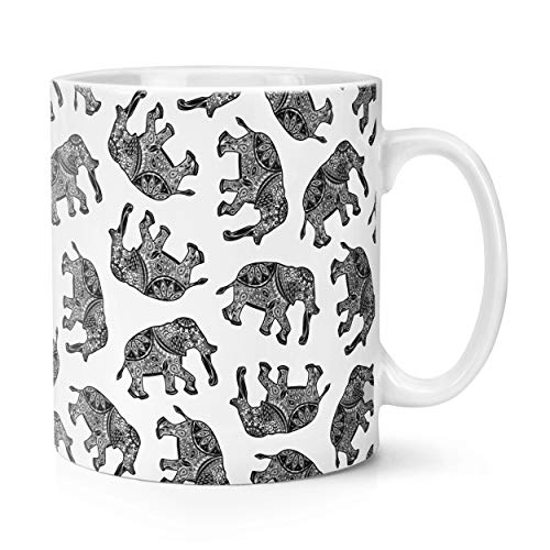 Elefantes Negro Estampado Cachemira 10oz Taza